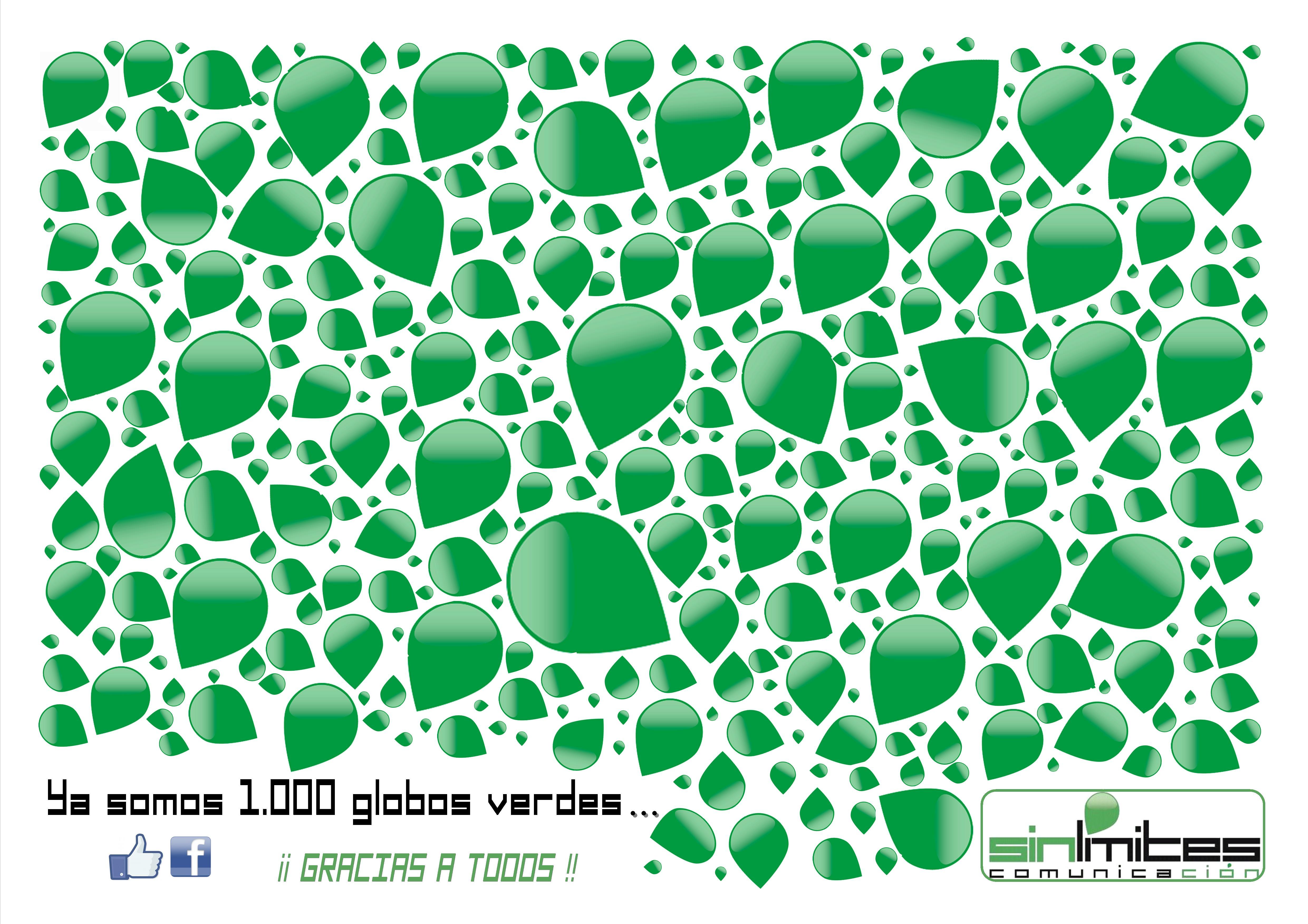 1000 globos verdes. Sinlímites Comunicación